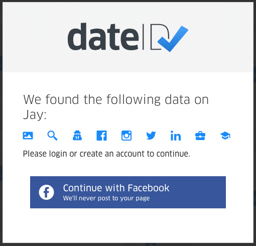 DateID background check results modal